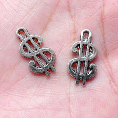 Dollar Sign Charms / American Dollar Charm (12pcs / 9mm x 17mm / Tibetan Silver) Money Currency Cash Wealth Bank Whimsical Kitsch CHM984