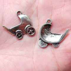 Baby Carriage Charms / Baby Pram Charm / Baby Stroller Charm (6pcs / 21mm x 20mm / Tibetan Silver) Baby Shower Decor Favor Charm CHM1002