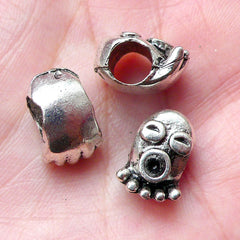 Octopus Beads / Sealife Bead (4pcs / 9mm x 13mm / Tibetan Silver) Large Big Hole Bead Leather Necklace Bracelet Bead Marine Animal CHM1003