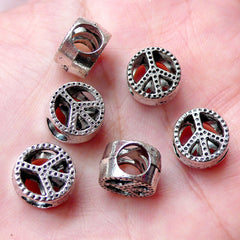 Peace Sign Beads / Hippie Bead (6pcs / 11mm x 7mm / Tibetan Silver / 2 Sided) Big Large Hole Bead Leather Bracelet Necklace Jewelry CHM1007