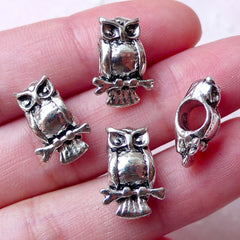 Owl Beads / Bird Bead (4pcs / 10mm x 15mm / Tibetan Silver) Large Big Hole Bead Animal Bracelet Pendant Leather Necklace Jewellery CHM1008