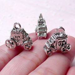 3D Princess Carriage Charm (3pcs / 15mm x 16mm / Tibetan Silver / 2 Sided) Fairy Tale Charm Bracelet Cute Jewelry Bookmark Bag Charm CHM1000