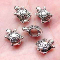 Turtle Beads / Sea Life Bead (5pcs / 10mm x 14mm / Tibetan Silver / 2 Sided) Big Large Hole Bead Beach Bracelet Leather Necklace CHM1004