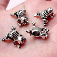 3D Frog Beads / Animal Bead (4pcs / 15mm x 16mm / Tibetan Silver) Big Large Hole Bead Leather Bracelet Necklace Whimsical Beads CHM1005