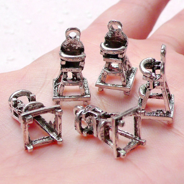 3D Baby High Chair Charms (5pcs / 9mm x 19mm / Tibetan Silver) Dollhouse Miniature Furniture New Baby New Mom Charm Baby Shower CHM1036