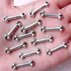 Dog Bone Charm Connector (12pcs / 23mm x 7mm / Tibetan Silver) Cute Bracelet Connector Pet Necklace Jewellery Kawaii Keychain Charm CHM1026