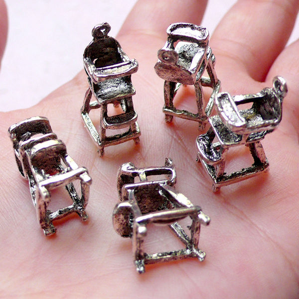3D Baby Highchair Charms (5pcs / 8mm x 21mm / Tibetan Silver) Miniature Dollhouse Furniture New Mom New Baby Charm Baby Shower Decor CHM1030