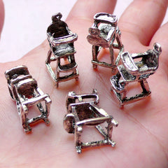 CLEARANCE 3D Baby Highchair Charms (5pcs / 8mm x 21mm / Tibetan Silver) Miniature Dollhouse Furniture New Mom New Baby Charm Baby Shower Decor CHM1030
