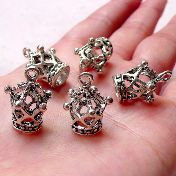 3D Crown Charm (5pcs / 14mm x 19mm / Tibetan Silver) Cute Fairy Tale Charm Bracelet Crown Pendant Bookmark Charm Keychain Charm CHM1033