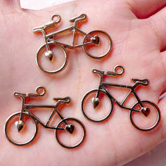 Bike Charms Bicycle Bracelet Link (3pcs / 31mm x 24mm / Rose Gold) Cycle Cycling Biking Pendant Necklace Link Zipper Pull Charm CHM1047