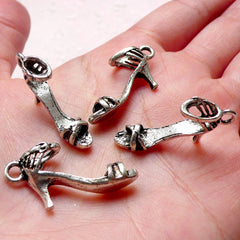 3D Sandal Charms High Heel Charm Miniature Shoe Charms (4pcs / 27mm x 14mm / Tibetan Silver) Fashion Charm Bracelet Lady Wine Charm CHM1048