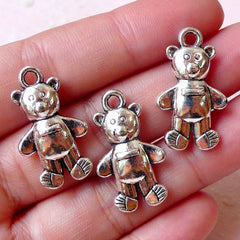 CLEARANCE Bear Doll Charms Toy Charm (3pcs / 15m x 26mm / Tibetan Silver) Cute Animal Charm Bracelet Pendant Necklace Baby Shower Zipper Pull CHM1055