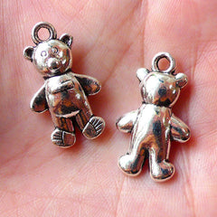 Bear Doll Charms Toy Charm (3pcs / 15m x 26mm / Tibetan Silver) Cute Animal Charm Bracelet Pendant Necklace Baby Shower Zipper Pull CHM1055
