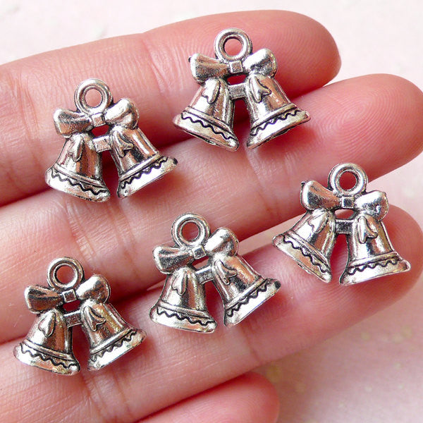 Christmas Bell Charms (5pcs / 16m x 14mm / Tibetan Silver / 2 Sided) Miniature Christmas Ornament Favor Charm Wine Glass Charm CHM1064