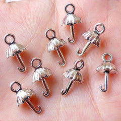 CLEARANCE 3D Umbrella Charms (8pcs / 8mm x 15mm / Tibetan Silver) Cute Lolita Jewelry Add On Charm Favor Charm Wine Charm Bracelet Earring CHM1087