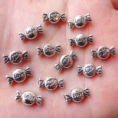 Miniature Taffy Candy Beads (13pcs / 11mm x 6mm / Tibetan Silver / 2 Sided) Kawaii Dollhouse Sweets Bead Whimsical Jewelry Bracelet CHM1095