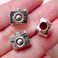 Camera Beads (3pcs / 12mm x 10mm / Tibetan Silver) Big Large Hole Beads Whimsical Jewelry Cute Leather Bracelet Necklace Dreadlock CHM1096