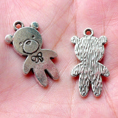 CLEARANCE Kawaii Bear Toy Charms Doll Charm (4pcs / 14m x 25mm / Tibetan Silver) Cute Animal Charm Bracelet Necklace Baby Shower Favor Charm CHM1108