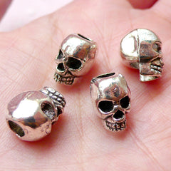 3D Skull Beads (4pcs / 9mm x 12mm / Tibetan Silver) Big Large Hole Bead Dreadlock Dread Jewelry Gothic Leather Bracelet Necklace CHM1103