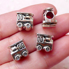 Train Beads Toy Bead (4pcs / 10mm x 10mm / Tibetan Silver / 2 Sided) Large Big Hole Bead Cute Jewellery Leather Necklace Bracelet CHM1104