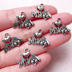I Love My Dog Charms Pet Charm (6pcs / 18mm x 15mm / Tibetan Silver) Dog Pendant Bracelet Necklace Animal Wine Charm Keychain Charm CHM1131