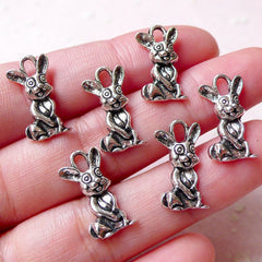 Rabbit Charm Bunny Charm (6pcs / 9mm x 18mm / Tibetan Silver) Animal Bracelet Pendant Necklace Earrings Baby Shower Wine Glass Charm CHM1153