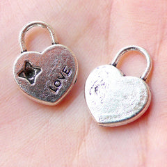 Heart Key Lock Charms Love Charm (5pcs / 13mm x 17mm / Tibetan Silver) Valentines Gift Decoration Cute Favor Charm Keychain Charm CHM1163