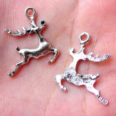 Christmas Reindeer Charms Deer Charm (5pcs / 22mm x 25mm / Tibetan Silver) Animal Jewellery Christmas Favor Charm Wine Glass Charm CHM1174
