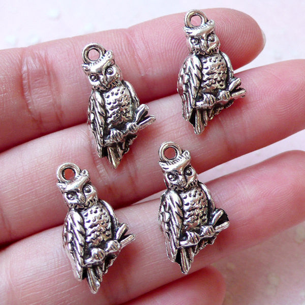 3D Owl Charms (4pcs / 11mm x 21mm / Tibetan Silver / 2 Sided) Animal Pendant Necklace Bird Bracelet Bangle Zipper Pull Wine Charm CHM1190