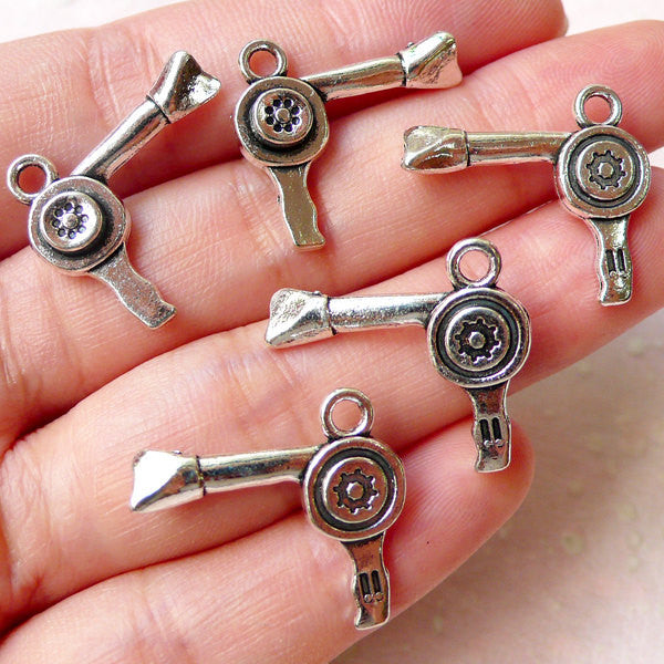 3D Blow Dryer Charms Hair Dryer Charm Hairdresser Charm Beauty Charm (5pcs / 21mm x 19mm / Tibetan Silver / 2 Sided) Whimsical Charm CHM1202