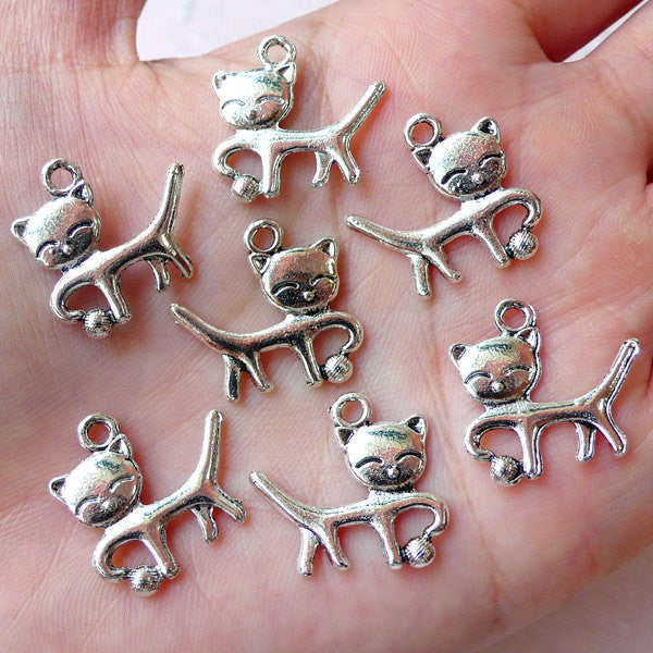 Cat Charms (7pcs / 19m x 18mm / Tibetan Silver / 2 Sided) Pet Keychain Charm Animal Pendant Bangle Anklet Bracelet Necklace Bookmark CHM1199