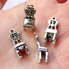 3D Chippendale Chair Charms (4pcs / 7mm x 19mm / Tibetan Silver) Miniature Dollhouse Furniture Whimsical Jewelry Earring Bangle CHM1200
