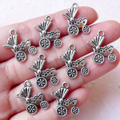 Baby Carriage Charms Baby Stroller Charm Baby Pram Charm (8pcs / 14mm x 18mm / Tibetan Silver) Baby Shower Decoration New Mom Charm CHM1221