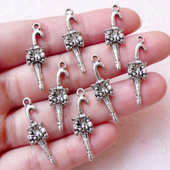 Lolita Umbrella Charms Victorian Umbrella Charm (8pcs / 8mm x 27mm / Tibetan Silver) Kawaii Jewelry Bracelet Dust Plug Charm Decoden CHM1222
