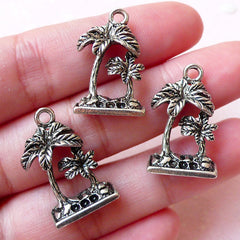 3D Palm Tree Charms Coconut Tree Charm (3pcs / 15m x 23mm / Tibetan Silver) Tropical Beach Jewelry Bangle Zipper Pull Key Fob Charm CHM1228