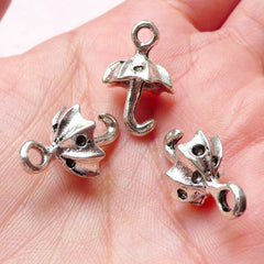 CLEARANCE 3D Umbrella Charms (4pcs / 13mm x 20mm / Tibetan Silver) Cute Jewellery Earring Bracelet Pendant Necklace Bangle Keychain Wine Charm CHM1259