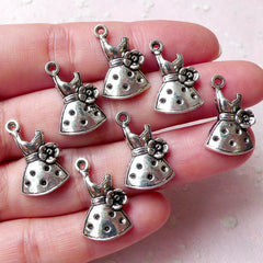 Summer Dress Charms w/ Flower (7pcs / 12mm x 20mm / Tibetan Silver) Fashion Charm Favor Charm Party Wine Glass Charm Bracelet Bangle CHM1261