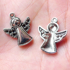 Christmas Angel Charms (6pcs / 16mm x 20mm / Tibetan Silver) Miniature Christmas Ornament Religious Catholic Christian Jewellery CHM1258