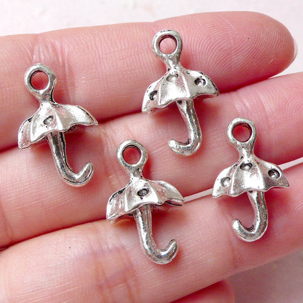 3D Umbrella Charms (4pcs / 13mm x 20mm / Tibetan Silver) Cute Jewellery Earring Bracelet Pendant Necklace Bangle Keychain Wine Charm CHM1259