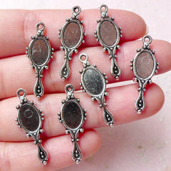 Hand Mirror Charm (7pcs / 10cm x 27mm / Tibetan Silver / 2 Sided) Beauty Charm Cute Jewelry Necklace Pendant Bracelet Wine Charm CHM1262