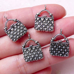 Handbag Charms Purse Charm Pouch Charm (4pcs / 13mm x 18mm / Tibetan Silver / 2 Sided) Lady Fashion Charm Bracelet Dust Plug Charm CHM1266