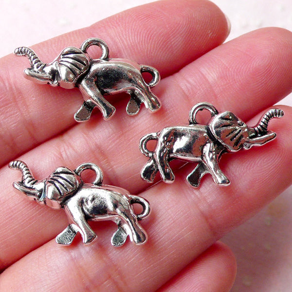3D Elephant Charms / Exotic Animal Charm (3pcs / 23mm x 14mm / Tibetan Silver / 2 Sided) Bracelet Bangle Anklet Necklace Pendant CHM1272