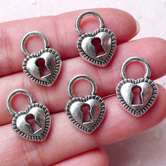 Valentines Day Key Lock Charms Heart Charm (5pcs / 12mm x 17mm / Tibetan Silver / 2 Sided) Love Charm Bracelet Gift Decoration CHM1281