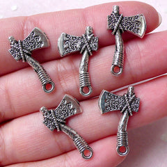 Axe Charms Ax Charm (5pcs / 13mm x 22mm / Tibetan Silver / 2 Sided) Hardware Tool Charm Pendant Necklace Bracelet Bangle Earrings CHM1289