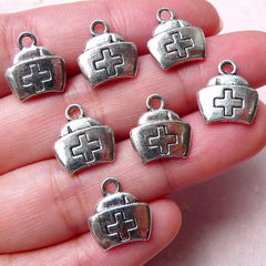Nurse Hat Charms Nurse Cap Charm (7pcs / 12mm x 13mm / Tibetan Silver / 2 Sided) Hospital Charm Pendant Earring Bracelet Bangle CHM1304
