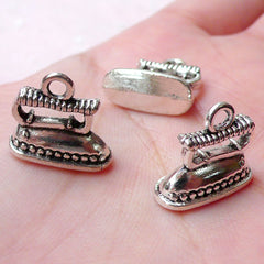 3D Antique Iron Charms (4pcs / 14mm x 13mm / Tibetan Silver / 2 Sided) Kitsch Jewelry Retro Vintage Iron Necklace Bangle Earrings CHM1311
