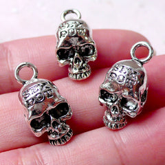 3D Skull Charms (3pcs / 10mm x 22mm / Tibetan Silver) Gothic Skull Jewelry Punk Earring Halloween Necklace Spooky Creepy Bracelet CHM1294