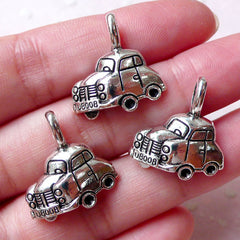 Toy Car Charms (3pcs /  20mm x 21mm / Tibetan Silver) Baby Shower Decoration Favor Charm Necklace Pendant Keychain Zipper Pull Charm CHM1326