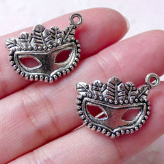 CLEARANCE Mask Charms Masquerade Charm (2pcs / 22mm x 17mm / Tibetan Silver) Party Decoration Wine Glass Charm Pendant Bangle Earring Keychain CHM1327