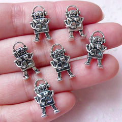 Vintage Robot Charms Toy Charm (6pcs / 10mm x 17mm / Tibetan Silver / 2 Sided) Whimsical Kitsch Earrings Bracelet Bangle Anklet CHM1342